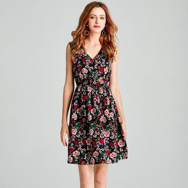 Corachic.com - Sweet Print Floral Fashion Casual Style Deep V Dress Vintage Elegant Beach Party Dresses - Dresses