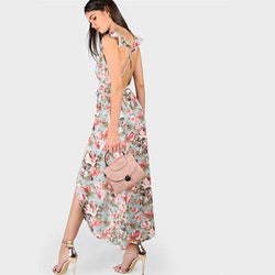 V-Neck Crisscross Backless Floral Rose Print Wrap Belted Boho Beach Maxi Dress