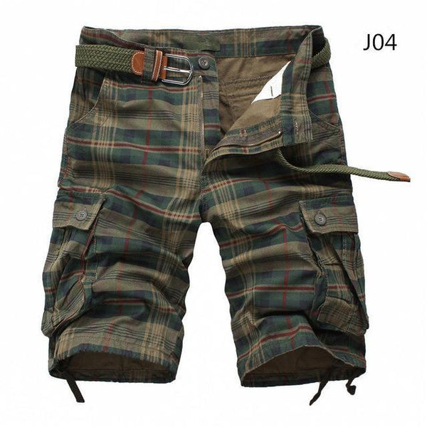Men Summer Plaid Beach Shorts Casual Cargo Multi-Pocket Shorts