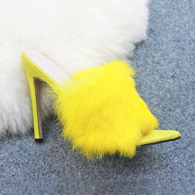 Candy Color Luxury Rabbit Fur High Heel Sandals Slippers Large Size Sandal Shoes