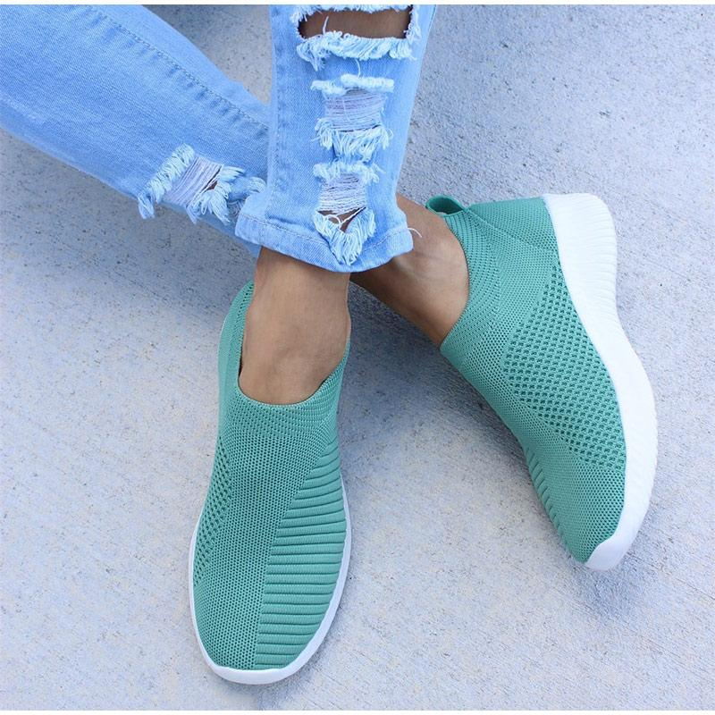 Corachic.com - Plus Size Women Casual Knitting Sock Sneakers Stretch Flat Platform Shoes - Women's Flats