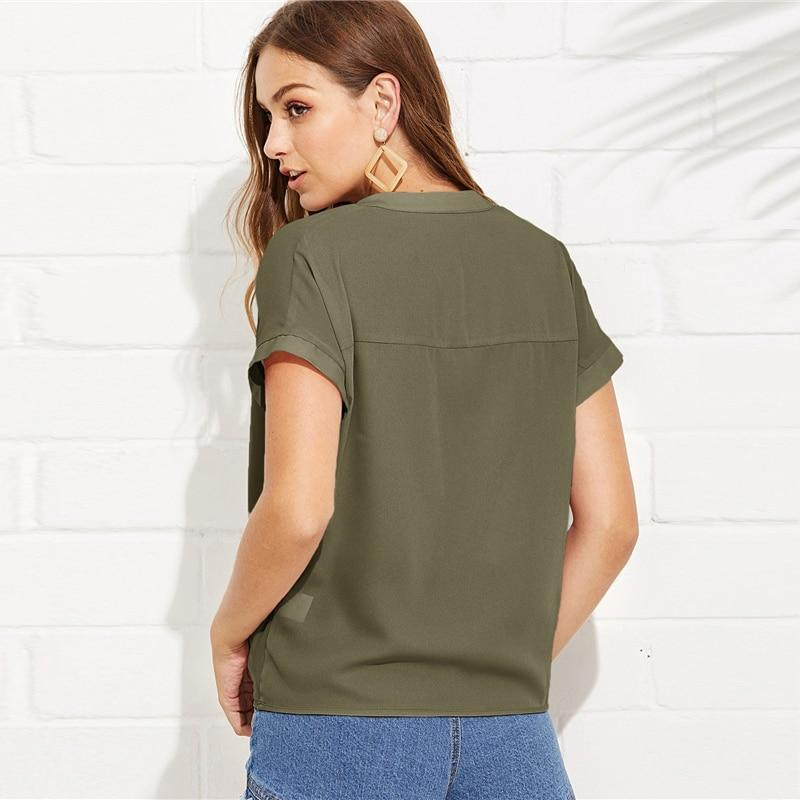 Army Green V Neck Draped Top Women Summer Elegant Solid Short Sleeve Blouse