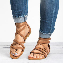 Women Rome Style Gladiator Sandals With Zip Flip Flop Flat Sandals