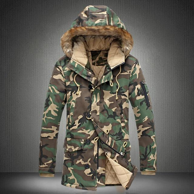 Camouflage Down Parkas Jackets  Men's Parka Hooded Coat Fur Collar Parkas Winter Jacket Military Down Overcoat