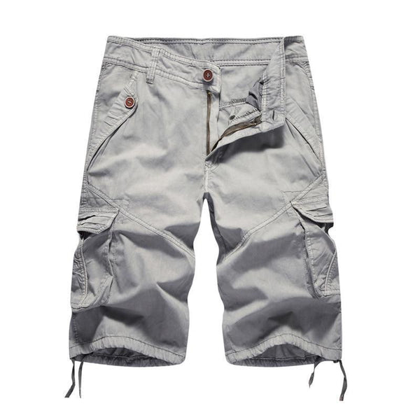 Men's Summer Cargo Solid Shorts 100% Cotton Soft Multi-Pocket Shorts