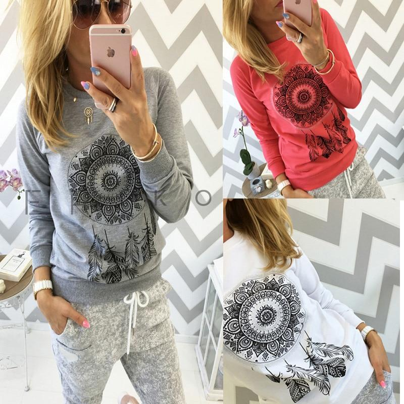 Long Sleeve Print Raglan T Shirt Casual O-Neck Tee Shirts Ladies Tops Chemisier Blouse