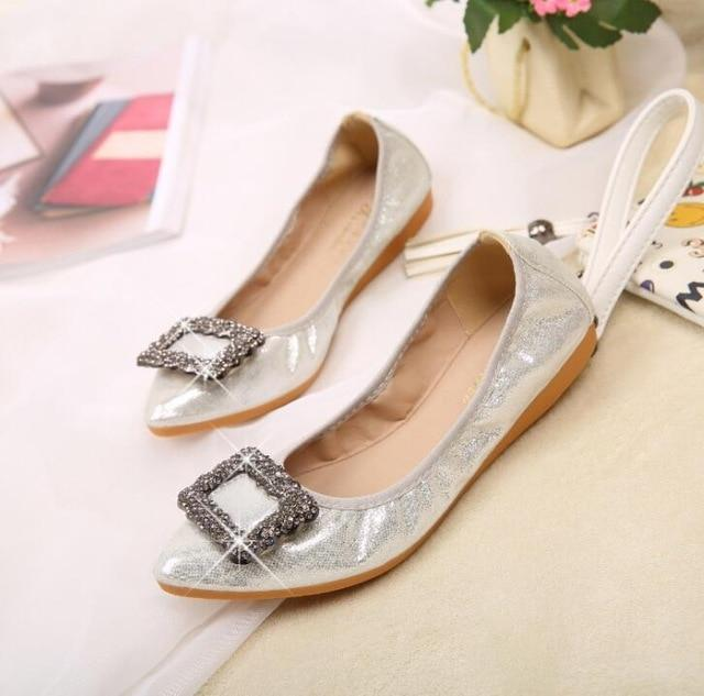 Crystal Ballet Flat Shoes Rhinestone Women Butterfly Pointed Toe Golden Shoes Flats