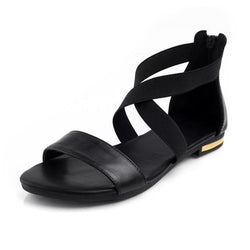 Corachic.com - Genuine Leather Women Flats Heel Sandals Shoes - Women's Sandals