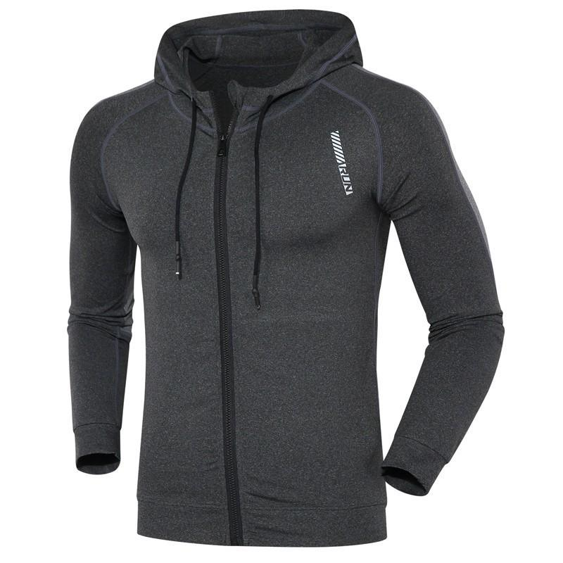 Gym Jacket Men Sports Coat Fitness Long Sleeve Running Elastic Tight Hoodies Zipper Slim Hiking Sweatshirts