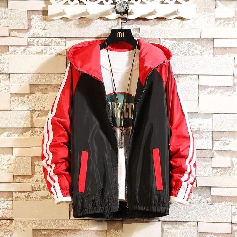 Men Casual Bomber Windbreaker Jacket Hooded Thin Zipper Coat Slim Outwear Hip Hop Jacket Men