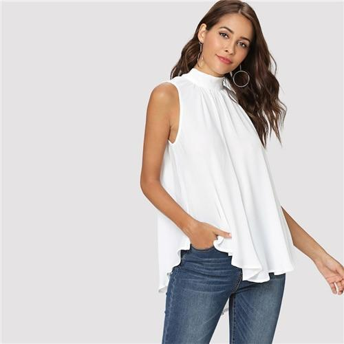 Elegant Sleeveless Pleated Blouse Women Summer Stand Collar Back Lace Up Blouses
