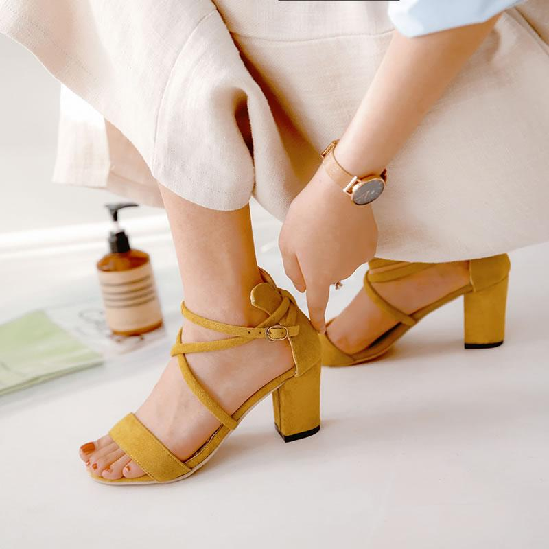 Women Cross Strap Buckle Sandals High Heel Thick With Shallow Mouth Fish Sandals