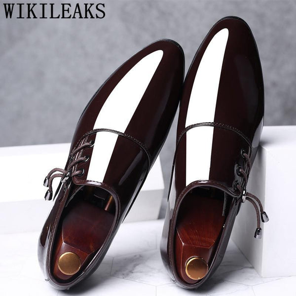 Men Dress Shoes Patent Leather Top Brand Designer Oxford Shoes