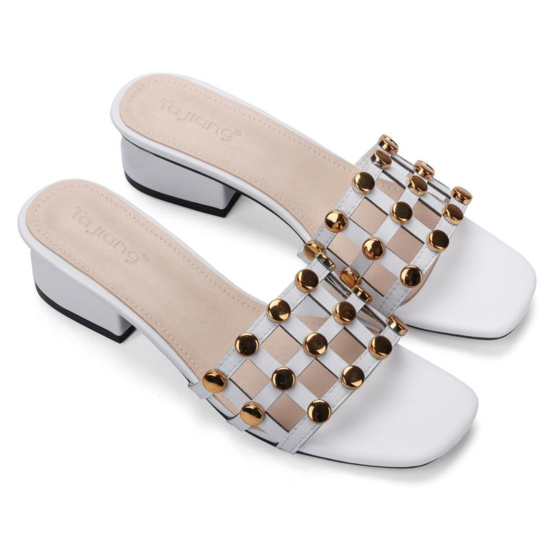 Genuine Cow Leather Rivets Women Square High Heels Gladiator Sandals Beach Slippers