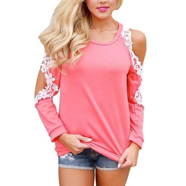Women Cold Shoulder Long Sleeve Lace Blouse Causal Loose Solid Tops Tees