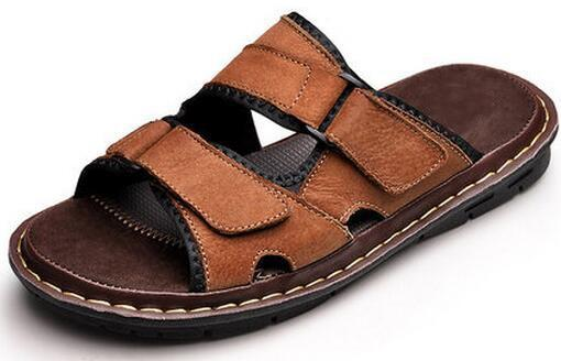 Men Cow Genuine Leather Sandals Slides Slippers Flats Summer Beach Shoes