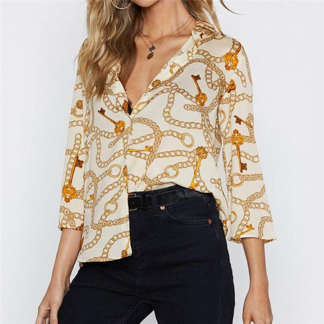 Women Chain Print Vintage Chiffon Blouse Turn-Down Collar Plus Size Loose Tops