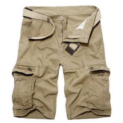 Men's Military Cargo Shorts Summer Cotton Loose Multi-Pocket Shorts