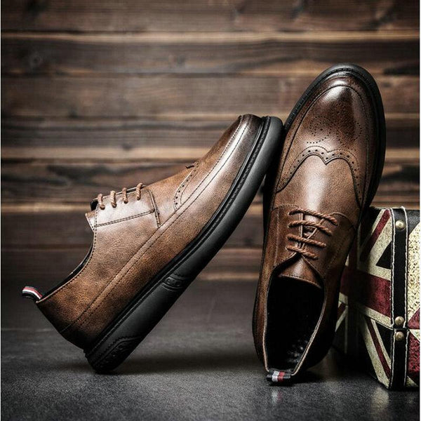 Men Dress Shoes New Arrival Retro Bullock Design Classic Leather Formal Shoes