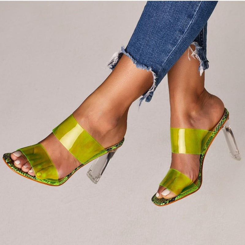 Women's Crystal Open Toed Mules Transparent High Heeled Sandal Slippers