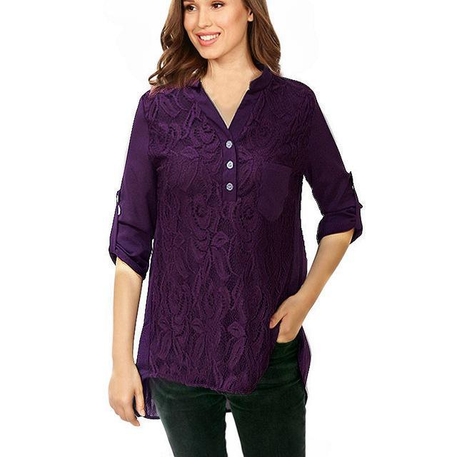 Lace Chiffon Blouses Shirts Women Casual Long Sleeve Tops Plus Size Blouses
