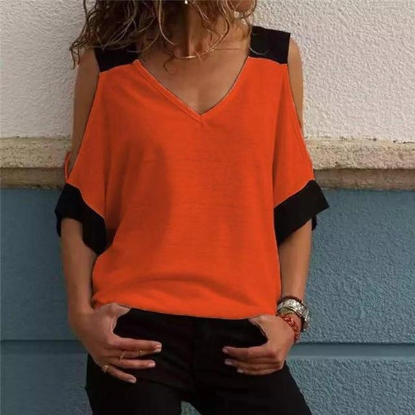Women Plus Size V-Neck Blouse Patchwork Cold Shoulder T-Shirt Tops