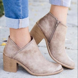 Women Shoes Retro High Heel Ankle Boots Female Block Mid Heels Casual Boots
