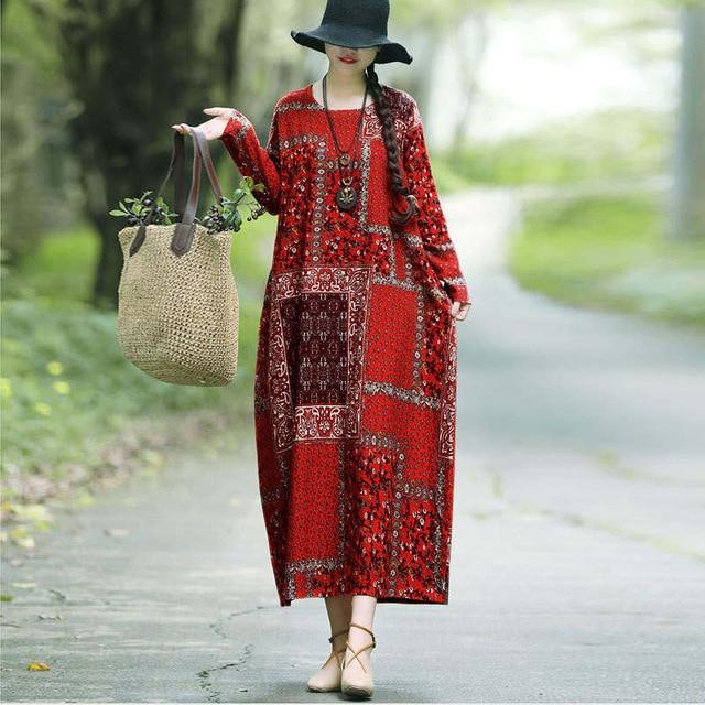 Vintage Printed Cotton Linen Dress Loose Casual Maxi Dresses Long Sleeve Round Neck