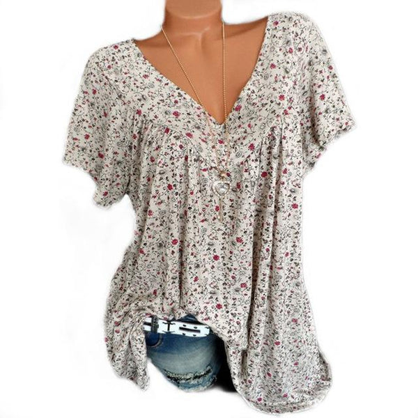Women Large Size Print Blouses Loose V Neck Short Sleeve Shirts Top Blouse