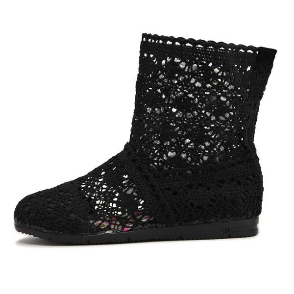 Women Cut-Outs Fashion Shoes Knitted short lace Boot ankle botas Boots