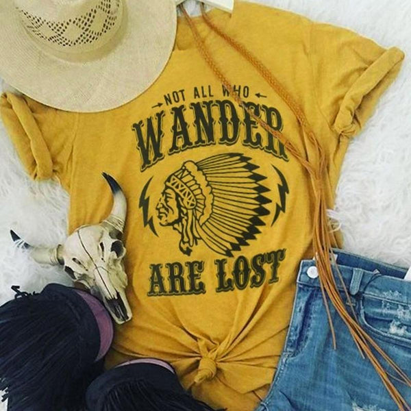Women Short Sleeve Letter Character Print Not All Who Wander Are Lost Casual T-Shirt Fashion Tops Tee