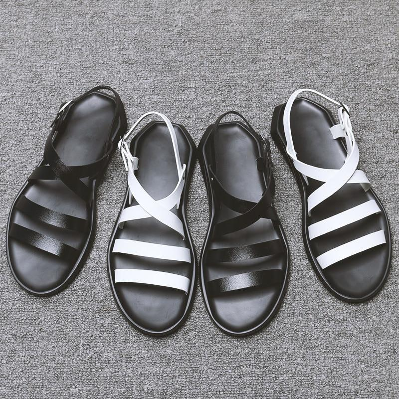 Men's PU Leather Sandals Shoes Flat Beach Sandals