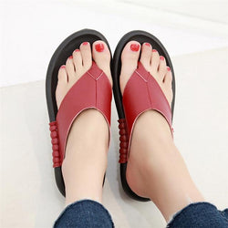 Women Genuine Leather Slippers Beach Flip Flops Slippers Sandal Shoes