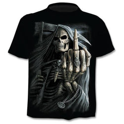 Men 3D Print New Funny Skull T-shirt Hipster Short Sleeve Tee Tops