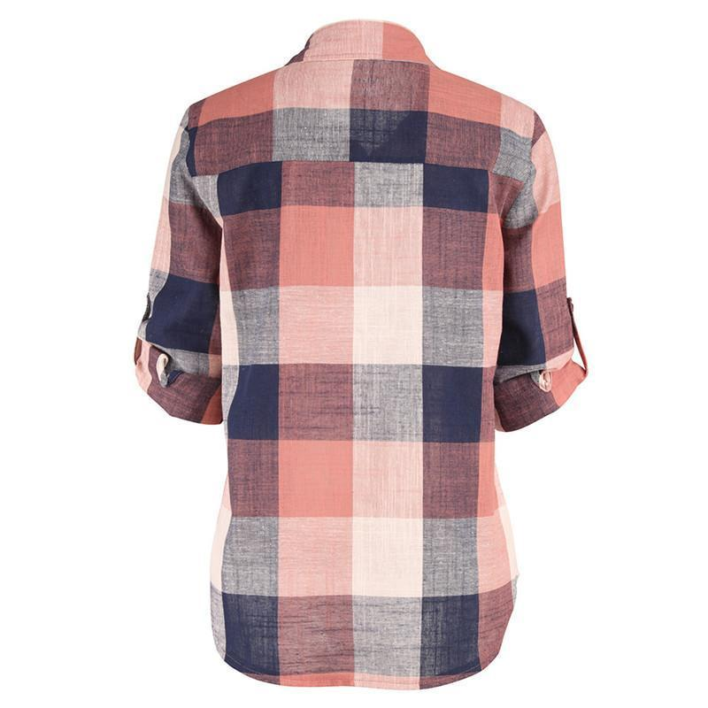 Fashion women Casual Matching Color Long Sleeve Button Loose Plaid Shirt Top Blouse
