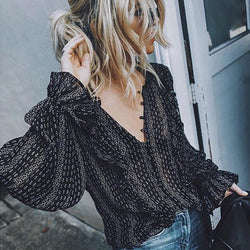 Women Boho Office Casual Balloon Long Sleeve V-Neck Sexy Loose Shirts Plus Size Blouse Tops