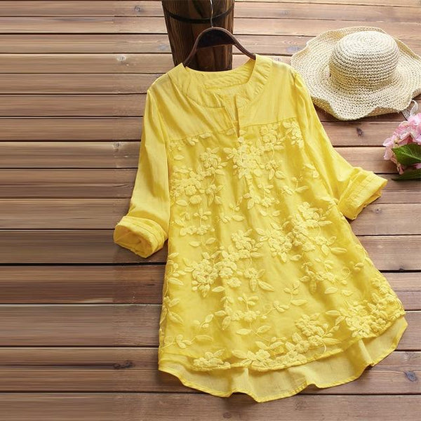 Women Elegant V Neck Long Sleeve Loose Cotton Linen Tops Party Shirt Casual Vintage Embroidery Blouse
