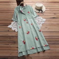 Plus Size Women Embroidery Dresses Vintage Beach Party Sundress S-5XL