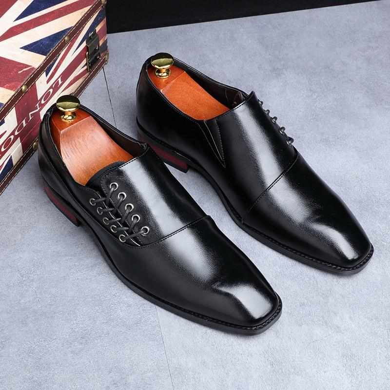 Men Classic Designer Business Office Lace-Up Loafers Casual Leather Flat Shoes