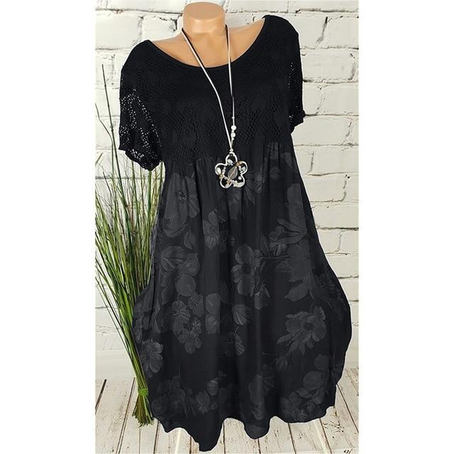 Large size Women's Dress Summer New Casual Round Neck Lace Short Sleeve Dresses