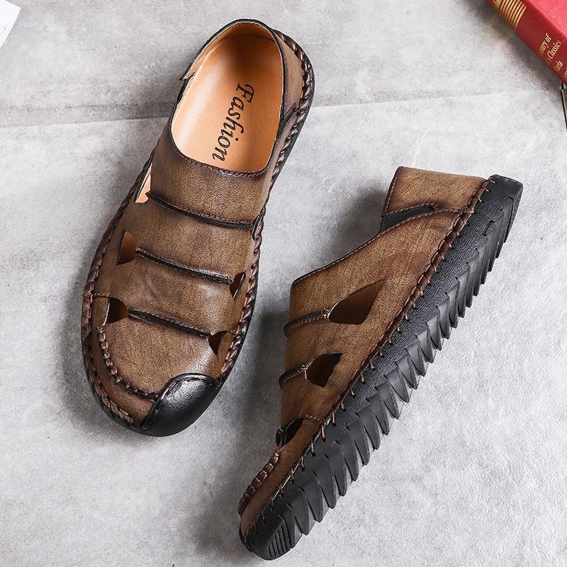 Men's Comfortable Handmade Sandals Soft Summer Retro Sewing Beach Shoes