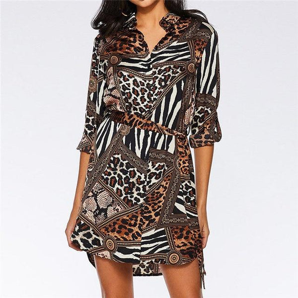 Chiffon Leopard Snake Sexy Mini Party Dress Vintage Turn-Down Collar Shirt Dress