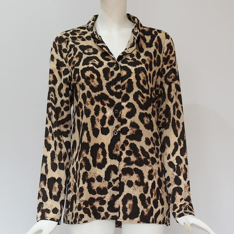 Chiffon Leopard Print Blouse Long Sleeve Turn-Down Collar Ladies Shirt Loose Plus Size Tops