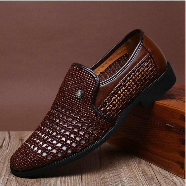 Men Vintage Genuine Leather Soft Bottom Slip-on Hollow Weave Sandals Shoes