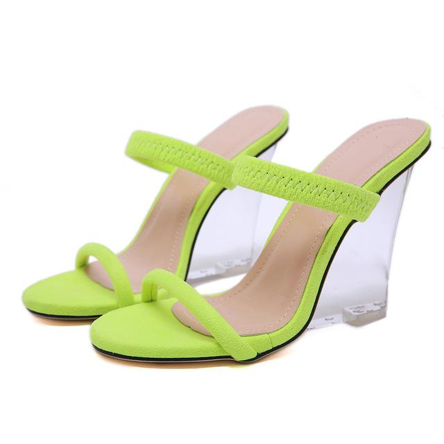 Women Slippers Sandals Open Toe Stretch Lace Wedges Shoes