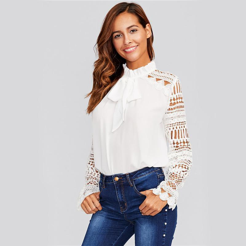 Geo Lace Sleeve White Blouse Women Frilled Tie Neck Long Sleeve Tops Blouse