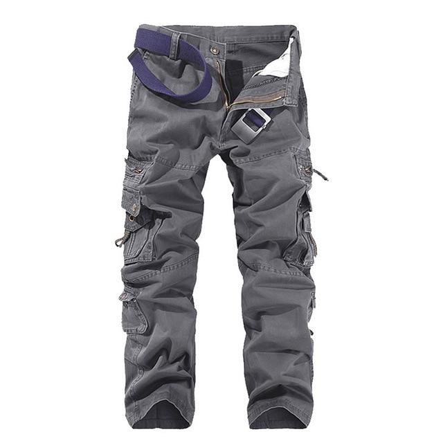 Mens Tactical Pants Joggers Casual Male Cargo Pants Cotton Trousers Multi Pocket Military Style Green Pants