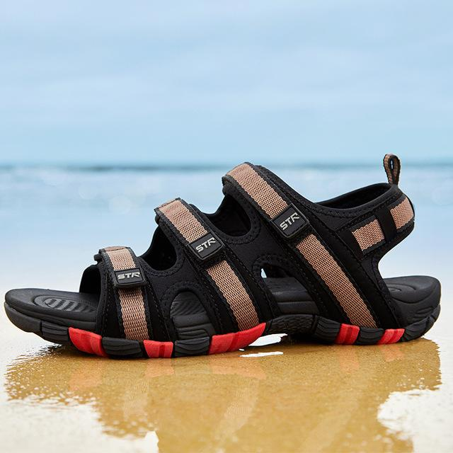 Men Hook&loop Summer Sandal Shoes Waterproof Casual Beach Shoes
