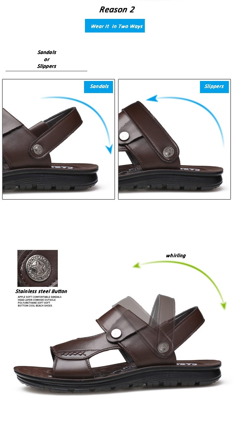 Men's Genuine Leather Sandals Summer Beach Casual Slippers Shoes