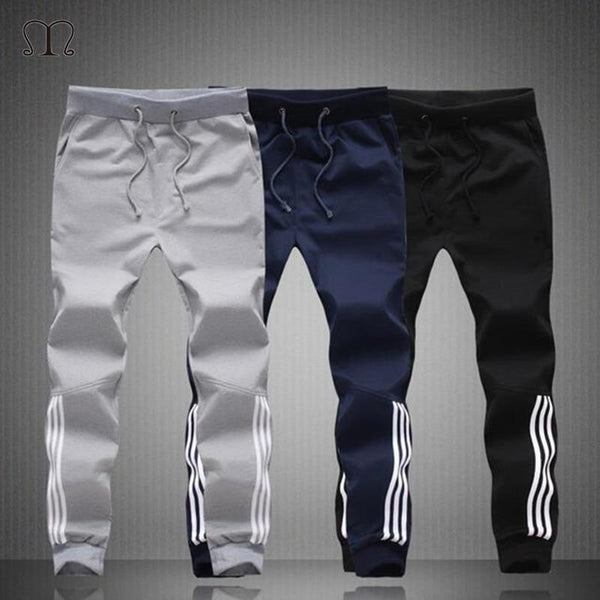 Mens Pants Fashion Skinny Sweatpants Mens Joggers Striped Slim Fitted Pants Gyms Clothing Pants